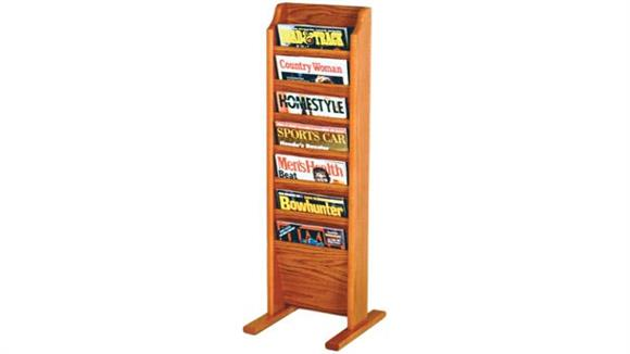 Magazine & Literature Storage Wooden Mallet 7 Pocket Oak Magazine Floor Rack