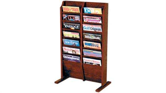 Magazine & Literature Storage Wooden Mallet 14 Pocket Oak Magazine Floor Rack