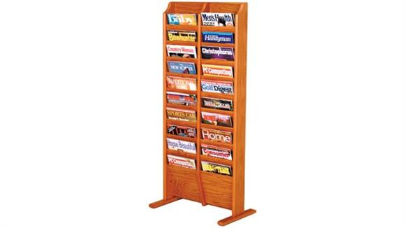 Magazine & Literature Storage Wooden Mallet 20 Pocket Oak Magazine Floor Rack
