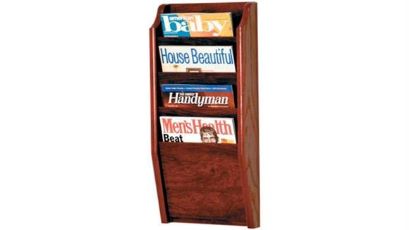 Magazine & Literature Storage Wooden Mallet 4 Pocket Oak Magazine Wall Rack