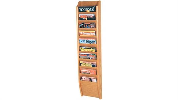 Magazine & Literature Storage Wooden Mallet 10 Pocket Oak Magazine Wall Rack