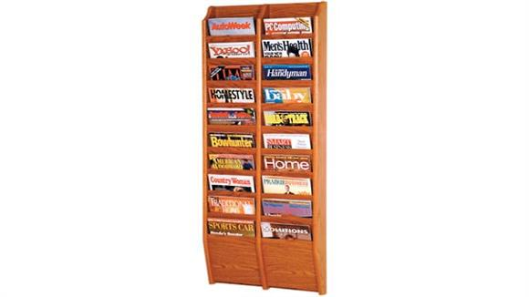 Magazine & Literature Storage Wooden Mallet 20 Pocket Oak Magazine Wall Rack