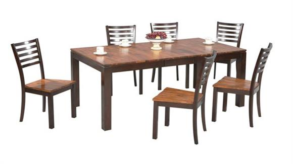 Dining Tables & Sets Wilshire Furniture 7 Piece Acacia Dining Set