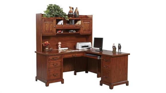 "L Shaped Desks Wilshire Furniture 66""W x 69""D x 68""H  L-Shaped Desk with Hutch"