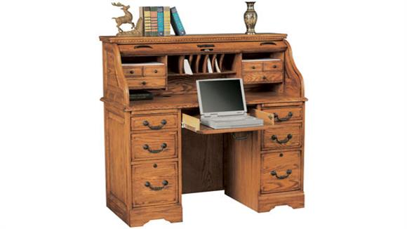 "Roll Top Desks Wilshire Furniture 48""W x 23""D x 46""H Solid Wood Roll Top Desk"