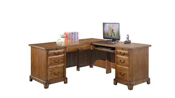 "L Shaped Desks Wilshire Furniture 66""W L-Shaped Executive Desk"