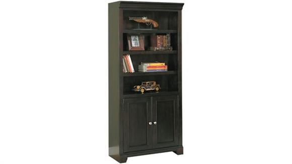 "Bookcases Wilshire Furniture 32""W x 15""D x 75""H Solid Wood Bookcase with Doors"