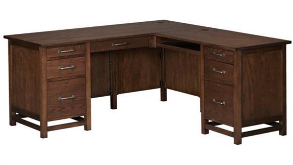 "L Shaped Desks Wilshire Furniture 68""W L-Shaped Executive Desk"