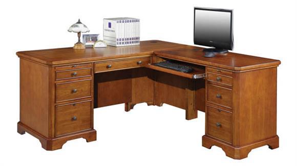 "L Shaped Desks Wilshire Furniture 66"" W L-Shaped Executive Desk"