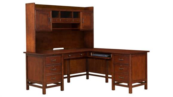 "Executive Desks Wilshire Furniture 68""W L-Shaped Desk with Hutch"
