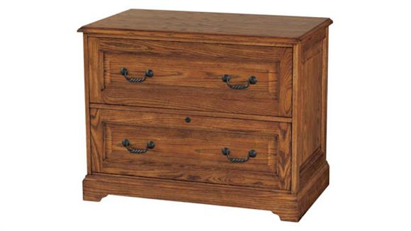 "File Cabinets Lateral Wilshire Furniture 38""W x 22""D x 30""H  Solid Wood 2 Drawer Lateral File"