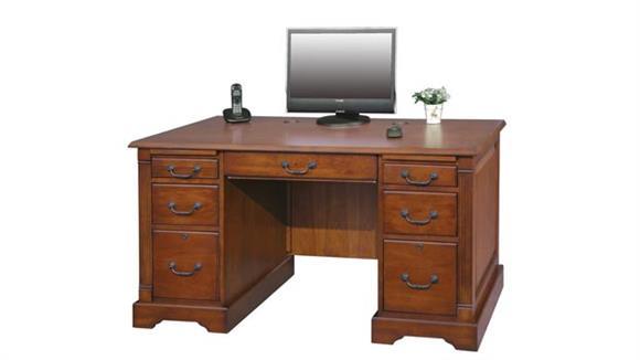 "Executive Desks Wilshire Furniture 57""W x 29""D x 30.5""H  Wood Executive Desk"