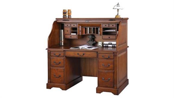 "Roll Top Desks Wilshire Furniture 57""W x 29""D x 53""H  Wood Rolltop Desk"