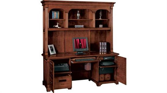 """Office Credenzas Wilshire Furniture 72.5""""W x 24""""D x 76""""H  Solid Wood Credenza with Hutch"""