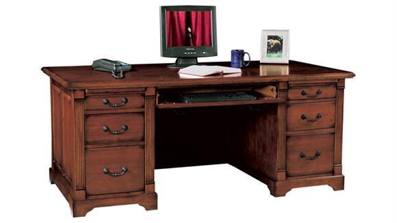 "Executive Desks Wilshire Furniture 72.5""W x 35.5""D x 31""H  Solid Wood Executive Desk"