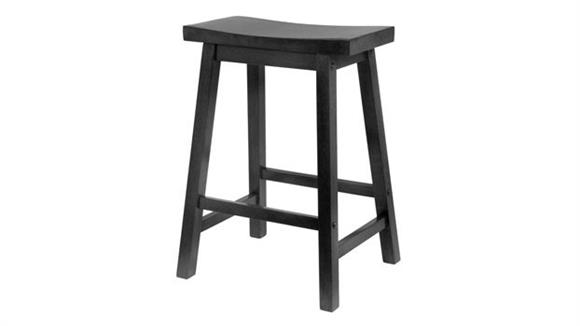 "Counter Stools Winsome Saddle Seat 24"" Black Stool"
