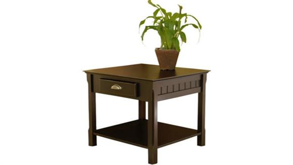 End Tables Winsome Timber End Table with One Drawer and Shelf
