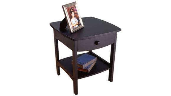 Night Stands Winsome Black Nightstand with One Drawer