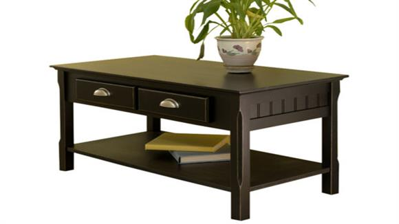 Coffee Tables Winsome Timber Coffee Table with 2 Drawers and Shelf