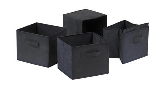 Storage Cubes & Cubbies Winsome Capri Set of 4 Foldable Black Fabric Baskets