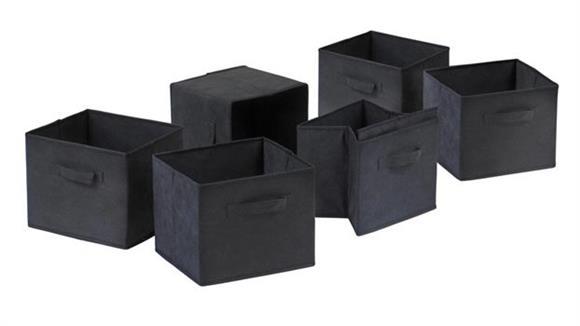 Storage Cubes & Cubbies Winsome Capri Set of 6 Foldable Black Fabric Baskets