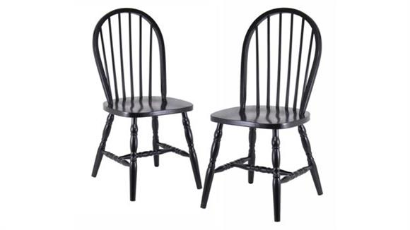 Dining Chairs Winsome Set of 2 Windsor Chairs with Curved Legs