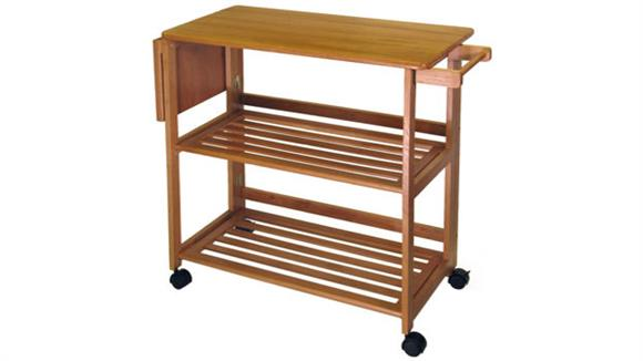 Kitchen Carts Winsome Foldable Kitchen Cart with Shelves