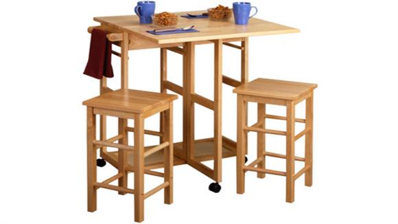 Kitchen Carts Winsome Space Saver Drop Leaf Table with 2 Square Stools