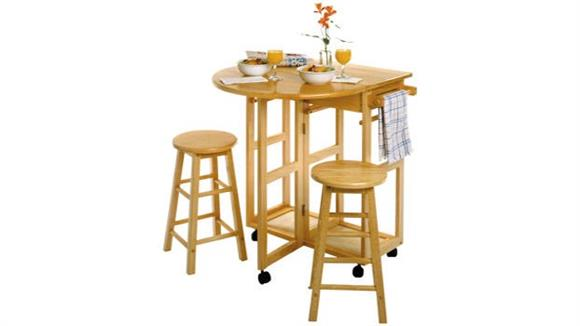 Kitchen Carts Winsome Space Saver Drop Leaf Table with 2 Round Stools