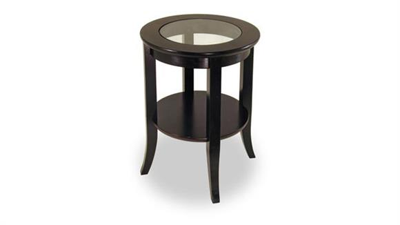 End Tables Winsome Genoa Round End Table with Glass Inset