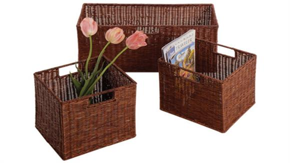 Storage Cubes & Cubbies Winsome Set of 3 Wicker Baskets - 1 Large, 2 Small