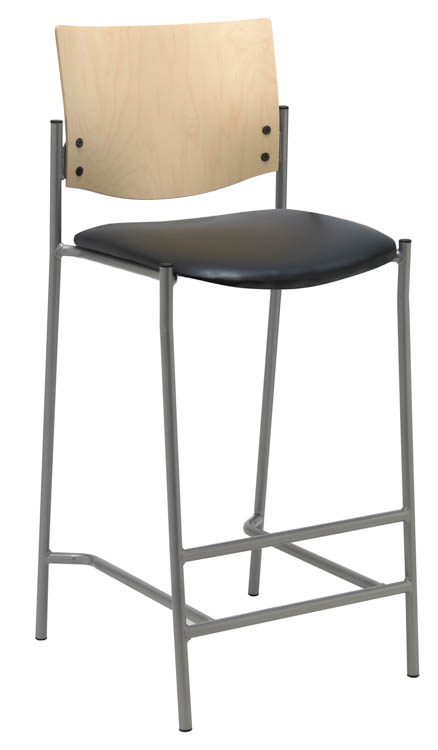Barstool with Silver Frame and Wood Back by KFI Seating
