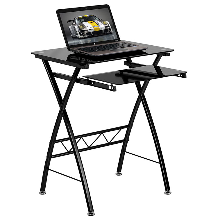 Black Tempered Glass Computer Desk by Innovations Office Furniture