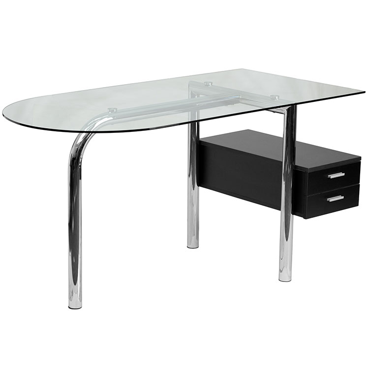 Glass Computer Desk with Two Drawer Pedestal by Innovations Office Furniture