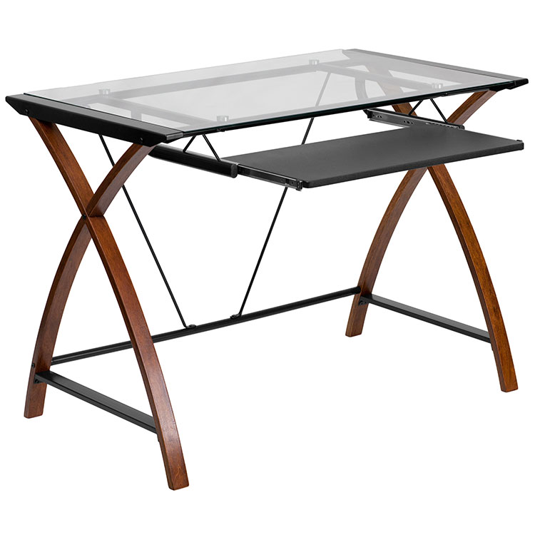 Glass Computer Desk with Keyboard Tray by Innovations Office Furniture