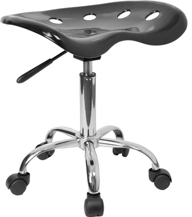 Vibrant Black Tractor Seat And Chrome Stool by Innovations Office Furniture