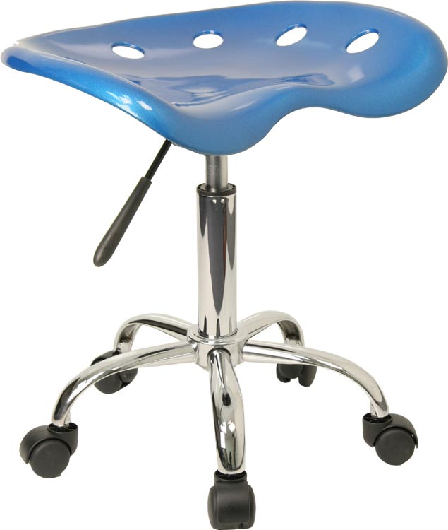 Vibrant Bright Blue Tractor Seat And Chrome Stool by Innovations Office Furniture