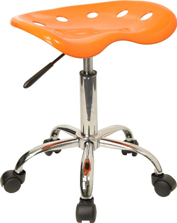 Vibrant Orange Tractor Seat And Chrome Stool by Innovations Office Furniture