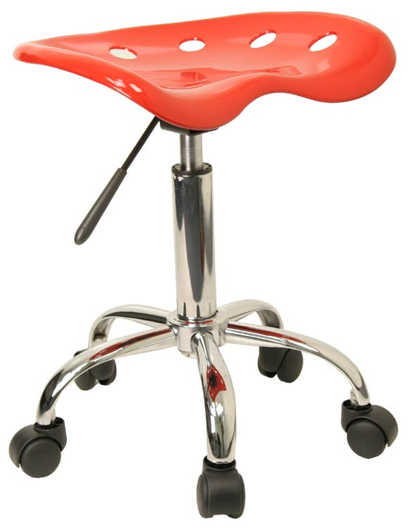 Vibrant Red Tractor Seat And Chrome Stool by Innovations Office Furniture