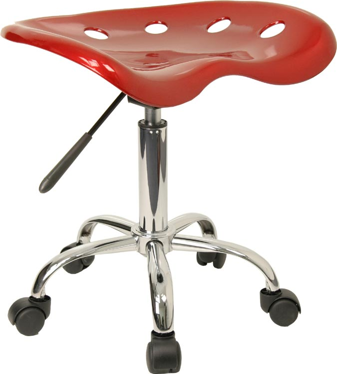 Vibrant Wine Red Tractor Seat And Chrome Stool by Innovations Office Furniture