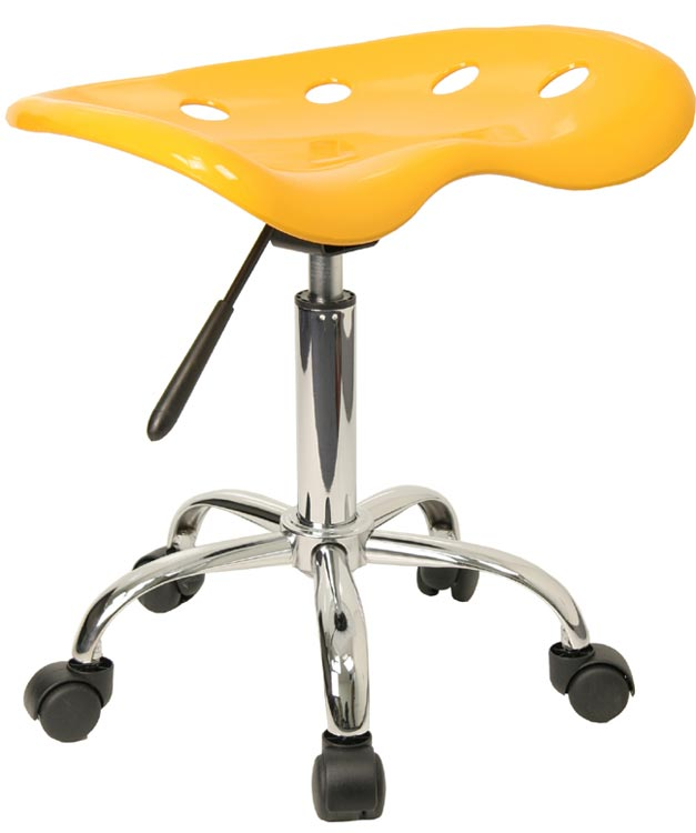 Vibrant Yellow Tractor Seat And Chrome Stool by Innovations Office Furniture