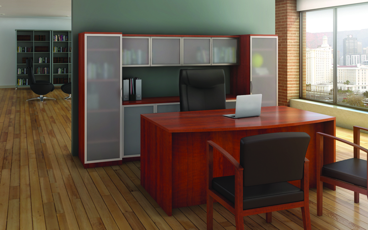 Bow Front Desk with Storage by Office Source Office Furniture