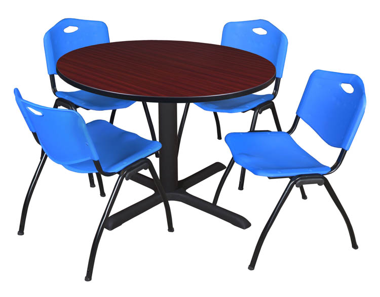 48 Round Breakroom Table- Mahogany & 4 'M' Stack Chairs by Regency Furniture