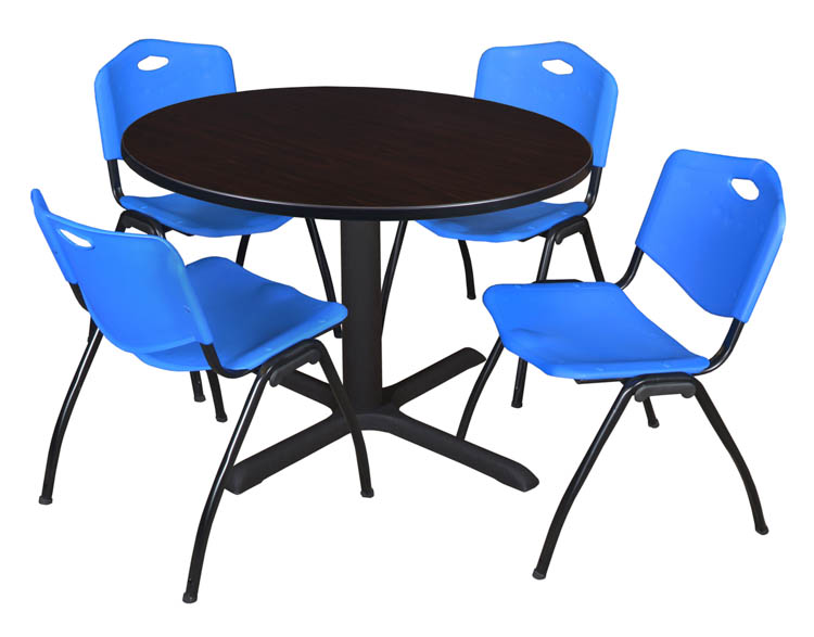 48 Round Breakroom Table- Mocha Walnut & 4 'M' Stack Chairs by Regency Furniture