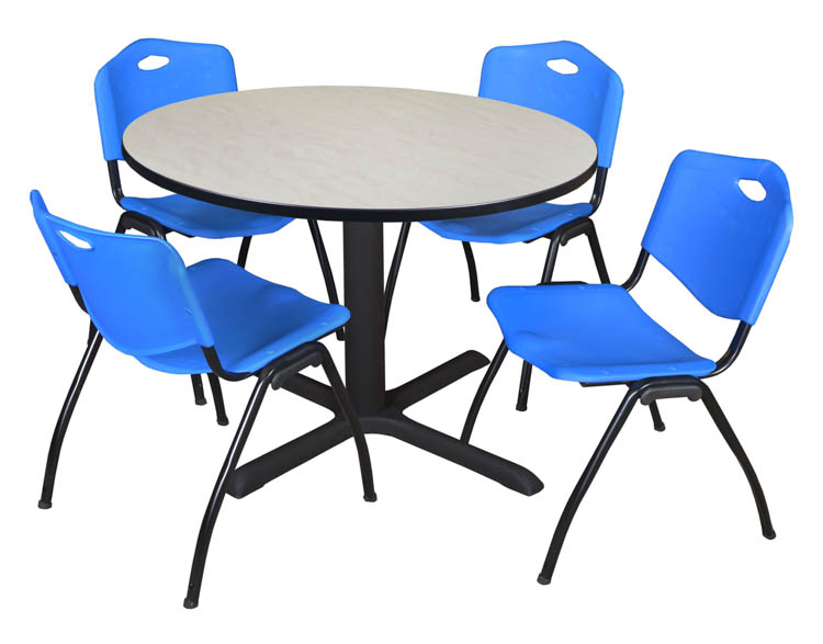 48 Round Breakroom Table- Maple & 4 'M' Stack Chairs by Regency Furniture