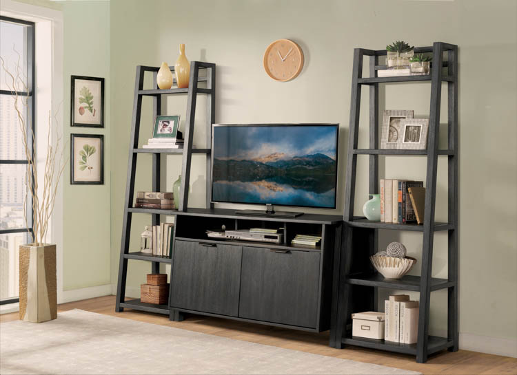 Entertainment Console with 2 Leaning Bookcases by Riverside
