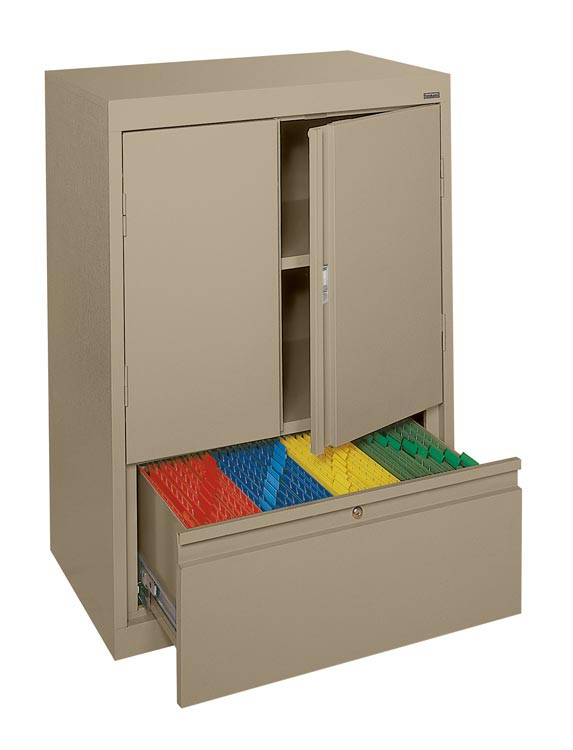 Counter Height Storage Cabinet with File Drawer by Sandusky Lee