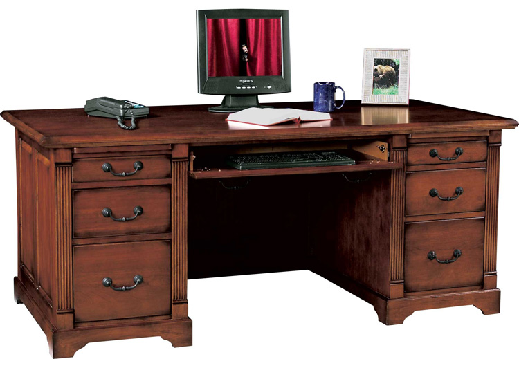 72.5W x 35.5D x 31H  Solid Wood Executive Desk by Wilshire Furniture